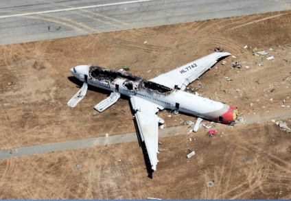 Wreckage of Asiana, Flight 214, a Boeing 777, HL7742,at SFO (Credit: NTSB)