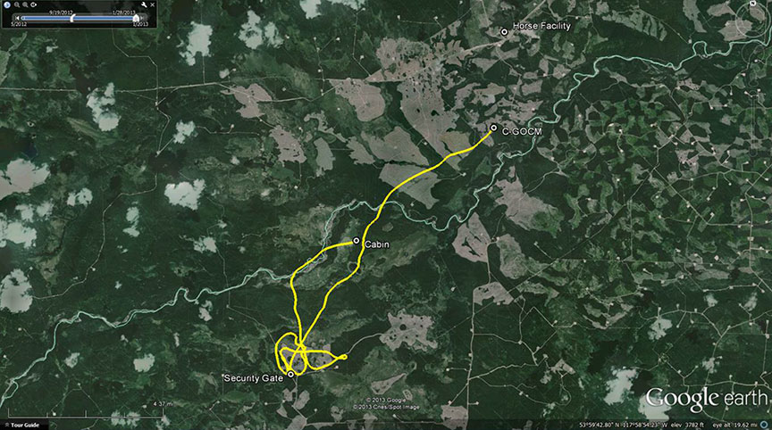 The flight path from cabin to security gate to accident site (1718 to 1740): Gemini Helicopters Robinson R44 Raven II C-GOCM (Credit: TSB)