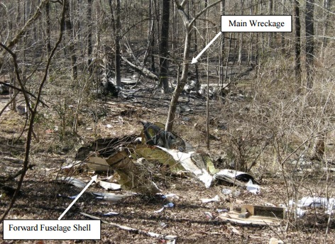 Wreckage of N777VG Premier 1 (Credit: NTSB)