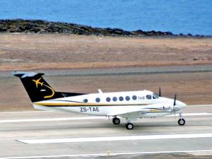 KA200 ZS-TAE after the first landing (Credit: St Helena Government)
