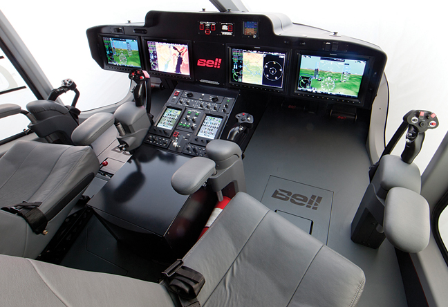 Bell 525 Cockpit with Garmin G5000H touch screens (Credit: Bell)