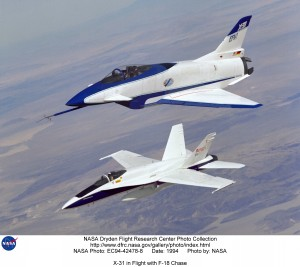 X-31 and F-18 chase plane