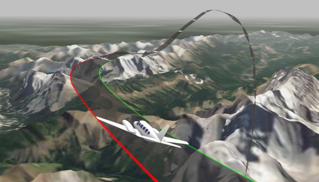 Final flight path of PA31 Survey Aircraft C-FNCI of Aeries Aviation leading up to the loss of control and spin entry based on Appareo Vision 1000 data (Credit: via TSB)