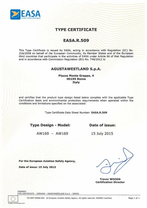 AW169 Type Certificate (Credit: EASA)