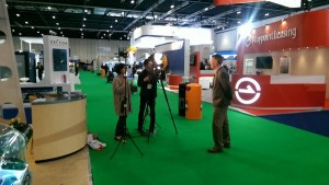 Andy Heather of Tonic Analytics Being Interviewed at HeliTech (Credit: Andy Evans)
