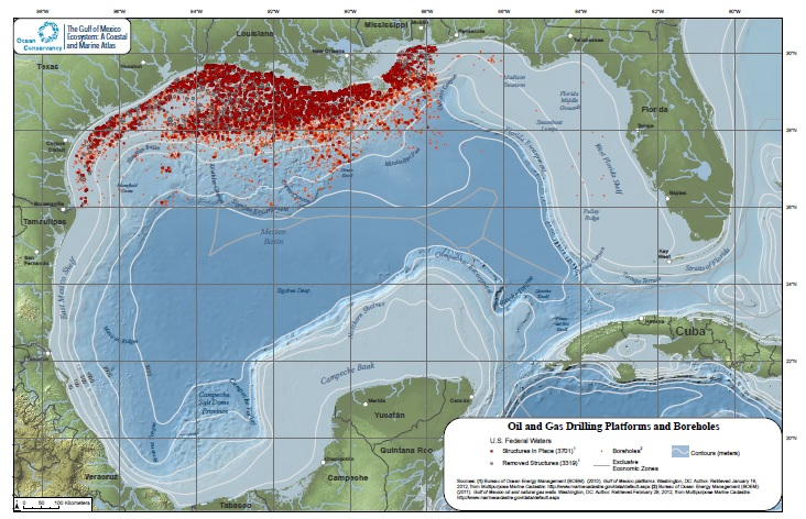 Map of Gulf of Mexico (GOM) Oil Installations and Wells (Credit: NOAA)