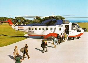 A BA S-61NM disembarking a typical passengers load after a Penzance/Scilly Isles Flight (Credit: via William Ashpole)