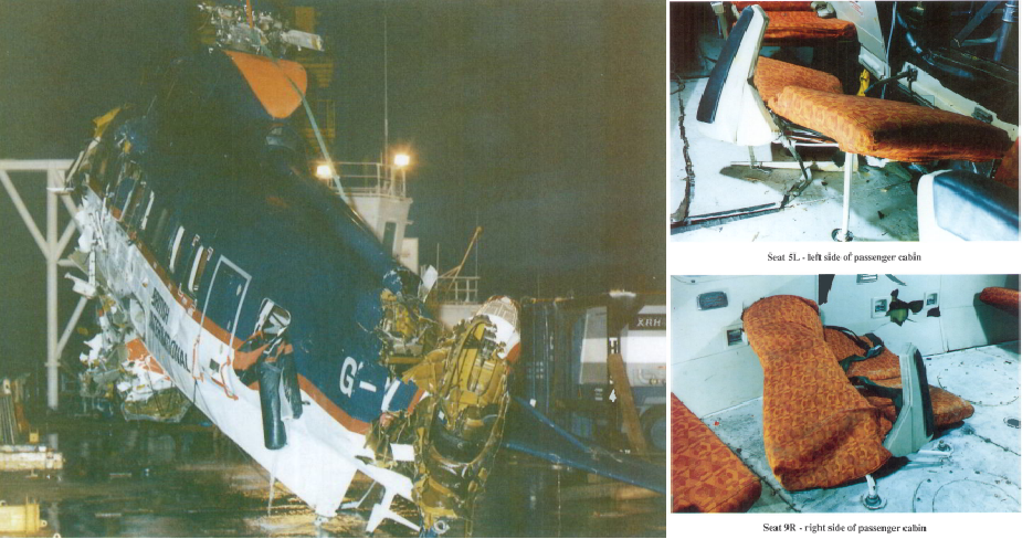 Wreckage of S-61N G-BEWL after the Brent Spar accident and examples of collapsed seats (Ctedit: AAIB)