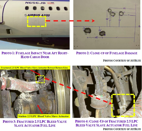 Some minor fusleage damage and the fractured fuel line (Credit JetBlue via NTSB)