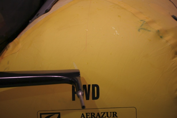 Scratches on the Left Hand Float from the Pitot Tube (Credit: via RNL)