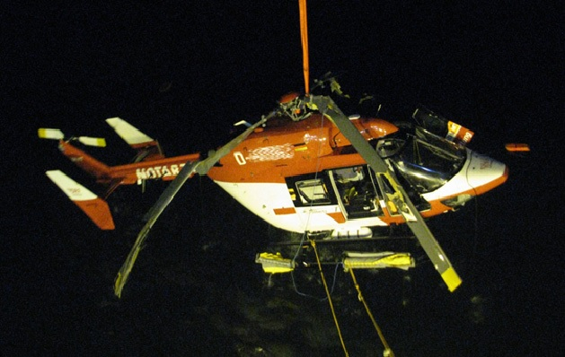 Wreckage of DFD BK117 (Credit: BFU) - Note: BFU traditionally eliminate all reference to aircraft registration from their accident reports