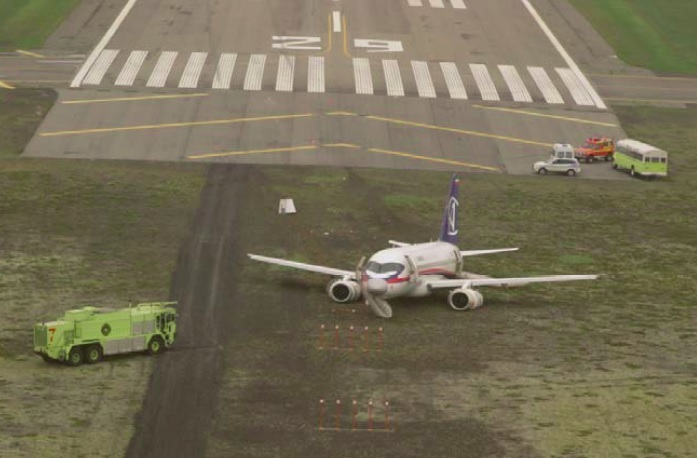 Sukhoi RRJ-95B Superjet 100 97005 Runway Excursion Keflavik (Credit: RNSA)