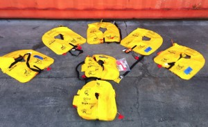 Life Jackets (PLDs) - the Two in the Foreground are the Infant's Jackets (Credit: NTSB)