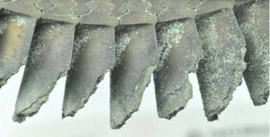 Close Up of Fractured Compressor Turbine Blades - Note Post Ditching Corrosion (Credit: NTSB)