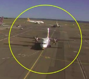 ATR72 VH-FVR taxiing inbound at Sydney on 20 Feb 2014 following the in-flight pitch disconnect (still image from CCTV). Note angle of the horizontal stabiliser relative to the wings. (Credit: via ATSB)