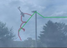 Reconstruction of Witness #1 Viewpoint - As Described in Red with Radar Data in Green for AS355F1 N58020 (Credit: NTSB)