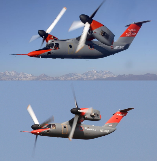 Modifications (Lower Photo) to Leonardo AW609 Tilt Rotor Prototype AC2, N609AG, Shown in Earlier Colour Scheme (Credit: Leonardo)