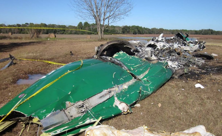 Wreckage of SA-227 N765FA of Ke Lime Air in Camilla, GA  after an Accident on 5 December 2016 (Credit: NTSB)