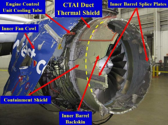 Damage to cowl - inboard (Credit: NTSB)