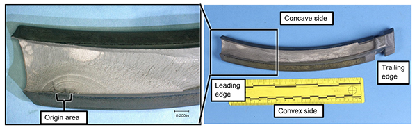 Blade 13 fracture surface with fatigue indications (Credit: NTSB)