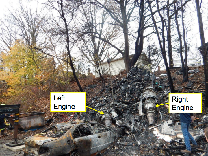 Wreckage Execuflight Hawker 700 N237WR in Akron OH (Credit: NTSB)