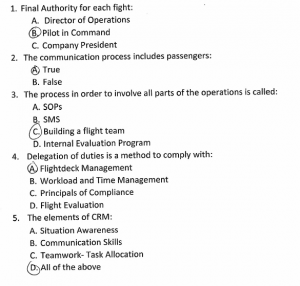 Execuflight 'CRM Test': First 5 of 10 Questions (Credit: via NTSB)