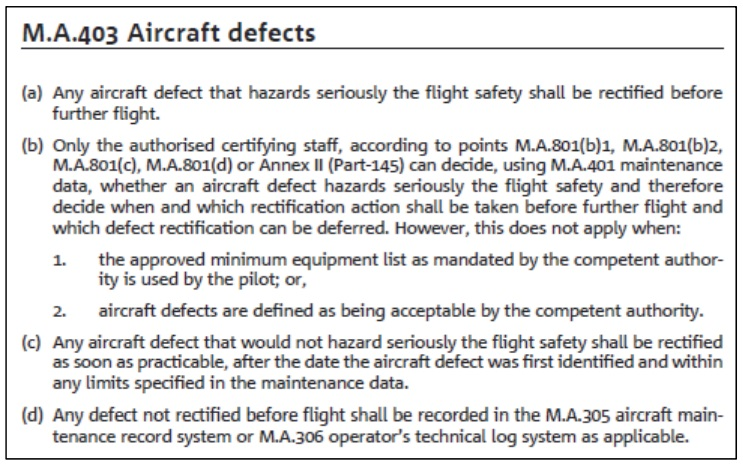 M.A.403 Aircraft defects EASA Part M