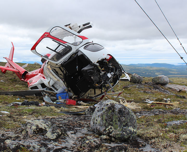 Wreckage of CHL AS350BA Helicopter C-GBPS at Moliak (Credit: TSB)