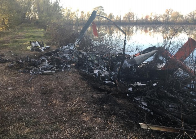 Wreckage of Air Methods HEMS B407 N620PA after Striking Geese (Credit: NTSB)