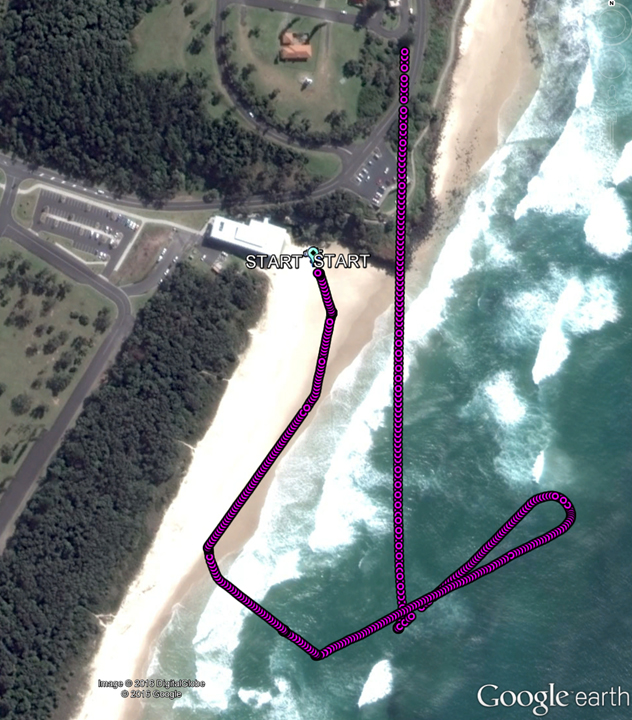 Flight Path (Google Earth annotated by ATSB)