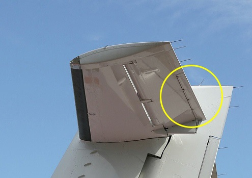 Left side of ATR72 tailplane assembly showing trim tab (circled) on left elevator (Credit: AAIB)