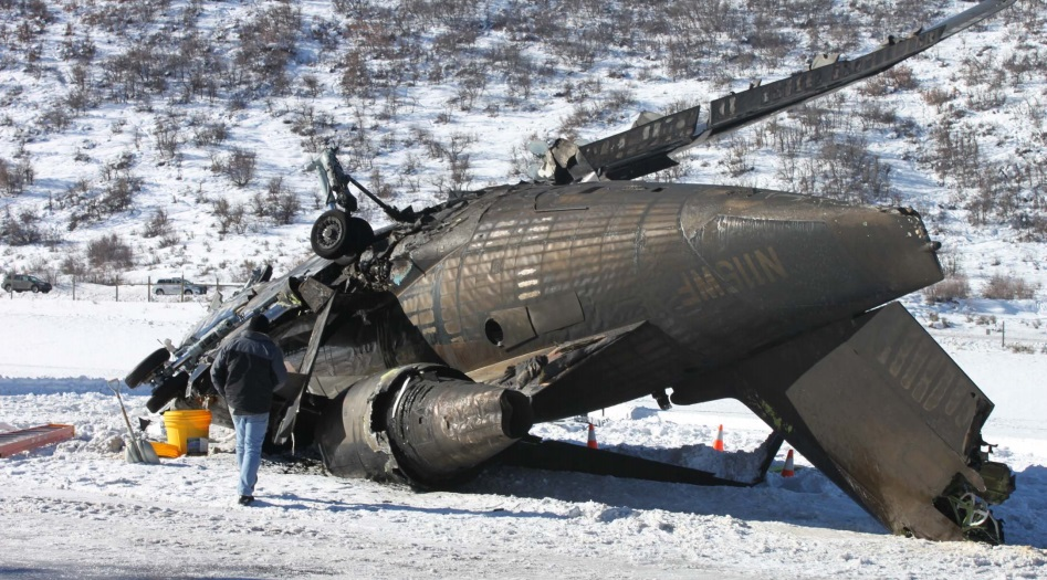 Wreckage of CL600 Challenger N115WF at Aspen (Credit: NSTB)
