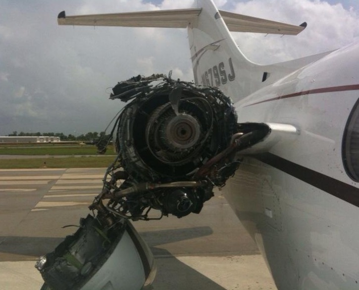 Damage to N679SJ after JT15D Fan Blade Release (Credit: NTSB)