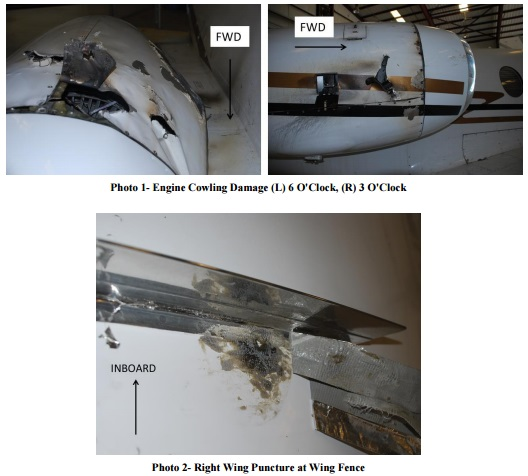 Damage to N412GJ after JT15D Fan Blade Release (Credit: NTSB)