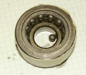 Worn SKF Tail Rotor Pitch Change Bearing from NASC Airbus Helicopters AS365N3 NA-107  (Credit: ASC)