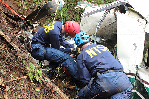NTSB Investigators at the Accident Site (Credit: Ketchikan Volunteer Rescue Squad – Jerry Kiffer)