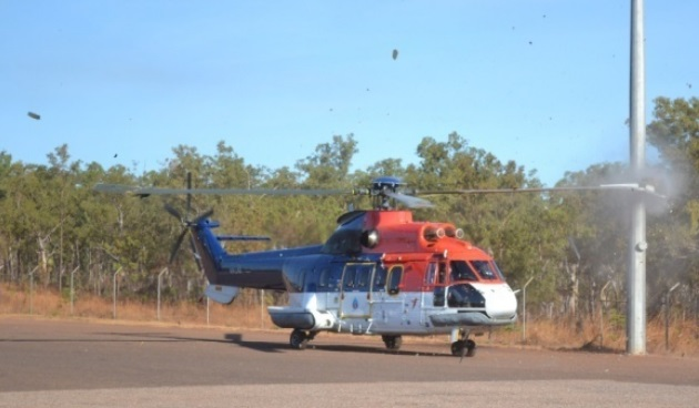 CHC Australia AS332L VH-LAG  Colliding with a Lamp Post at Port Keats in 2011 (Credit: ATSB)