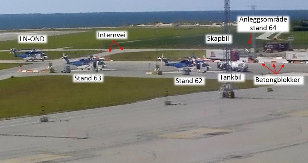 Sikorsky S-92A LN-OND Taxying Just Prior to Impact Filmed by Airport CCTV: Showing the Stand Layout (Credit: Avinor via AIBN)