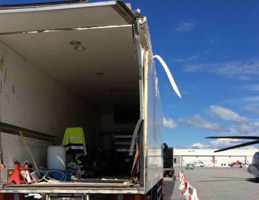 The Truck Damaged by the Main Rotor Blades of Sikorsky S-92A LN-OND at Stavangar-Sola Airport (Credit: AIBN)