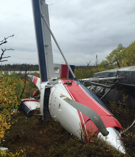 Wreckage of Rainbow King Lodge de Havilland Canada DHC-3T Texas Turbine Otter N928RK (Credit NTSB)