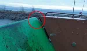 The Rope Snagged on the Ferry's Vehicle Ramp (credit: SHK)