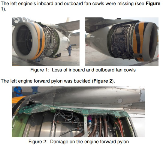 Damage to Tigerair Airbus A320-200 9V-TRH (Credit: TSIB)