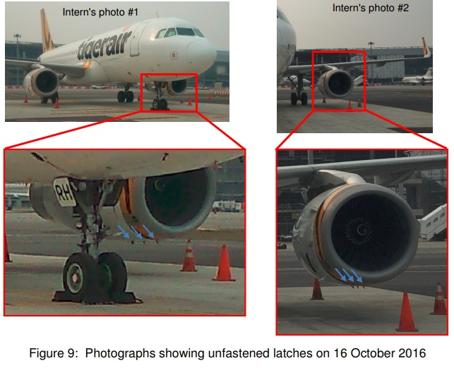 The Left Hand Fan Cowl of Tigerair Airbus A320-200 9V-TRH Photographed Before the Flight Unlatched (Credit: TSIB)