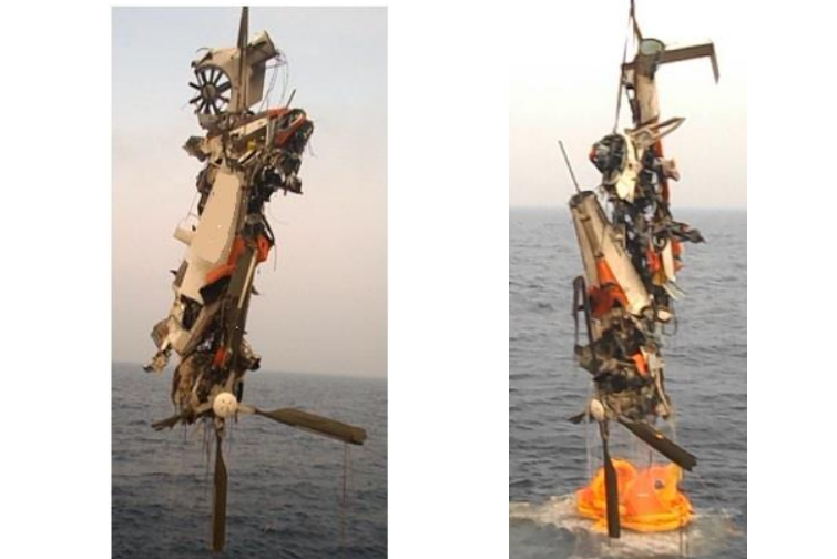 Wreckage of Airbus Helicopters AS365N3 VT-PWF of Pawan Hans (Credit: IAAIB)