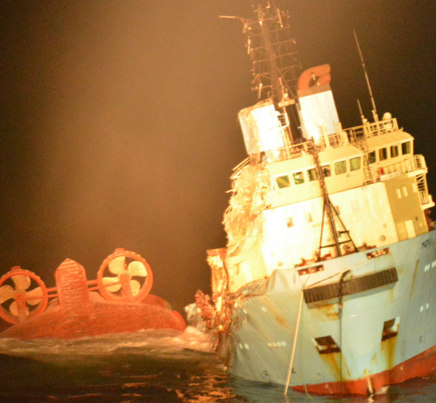 MÆRSK SEARCHER capsizing and sinking alongside the still afloat MÆRSK SHIPPER on 22 December 2016, just past midnight. (Credit Private Photo via DMAIB)