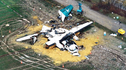 Wreckage of Fokker 50 LX-LGB of Luxair (Credit: MOT)