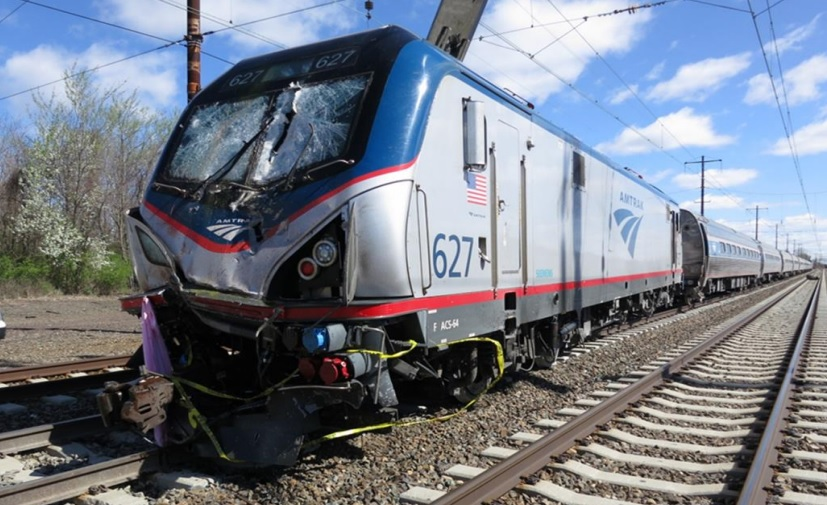 The Amtrak train after the impact (Credit: NTSB)
