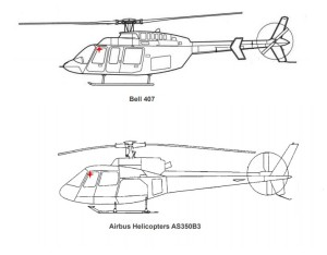 Comparison on B407 vs AS350 Pilot Eye Position (Credit: NTSB)