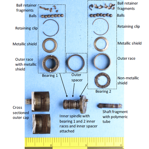Disassembled spool bearing with labels (Credit: NTSB)