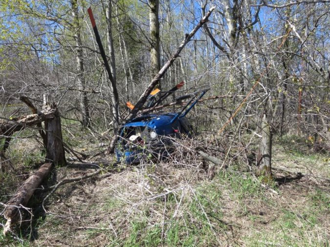 Wreckage of Rotor Blade MD Helicopters 369E N629JK (Credit: NTSB)
